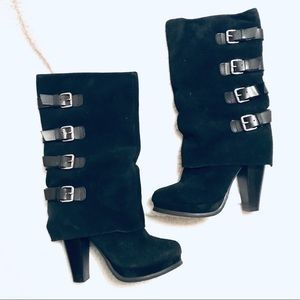 Report Monroe Black Suede Buckle Boots Size 7.5